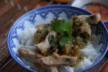 Pork with thaibasil